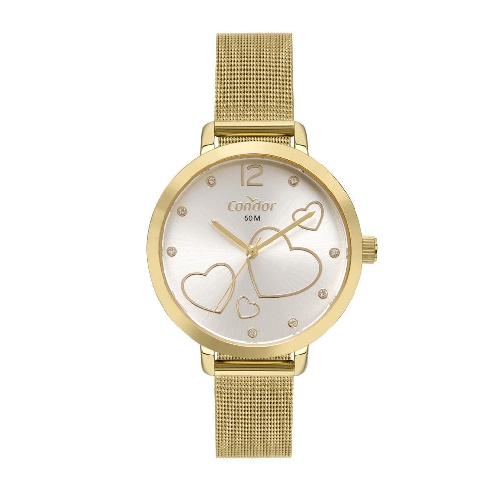 Relógio Condor Feminino Dourado + Colar e Brinco CO2035MYH/K4D
