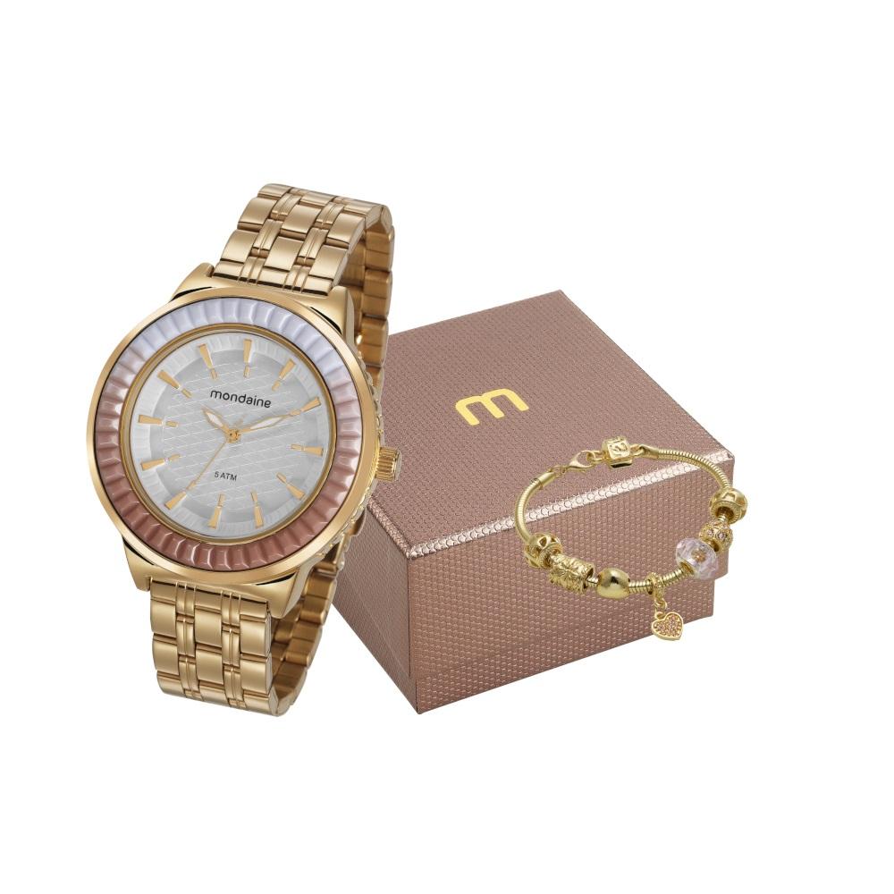 Relógio Mondaine Feminino Dourado + Pulseira 76712LPMVDE2K1