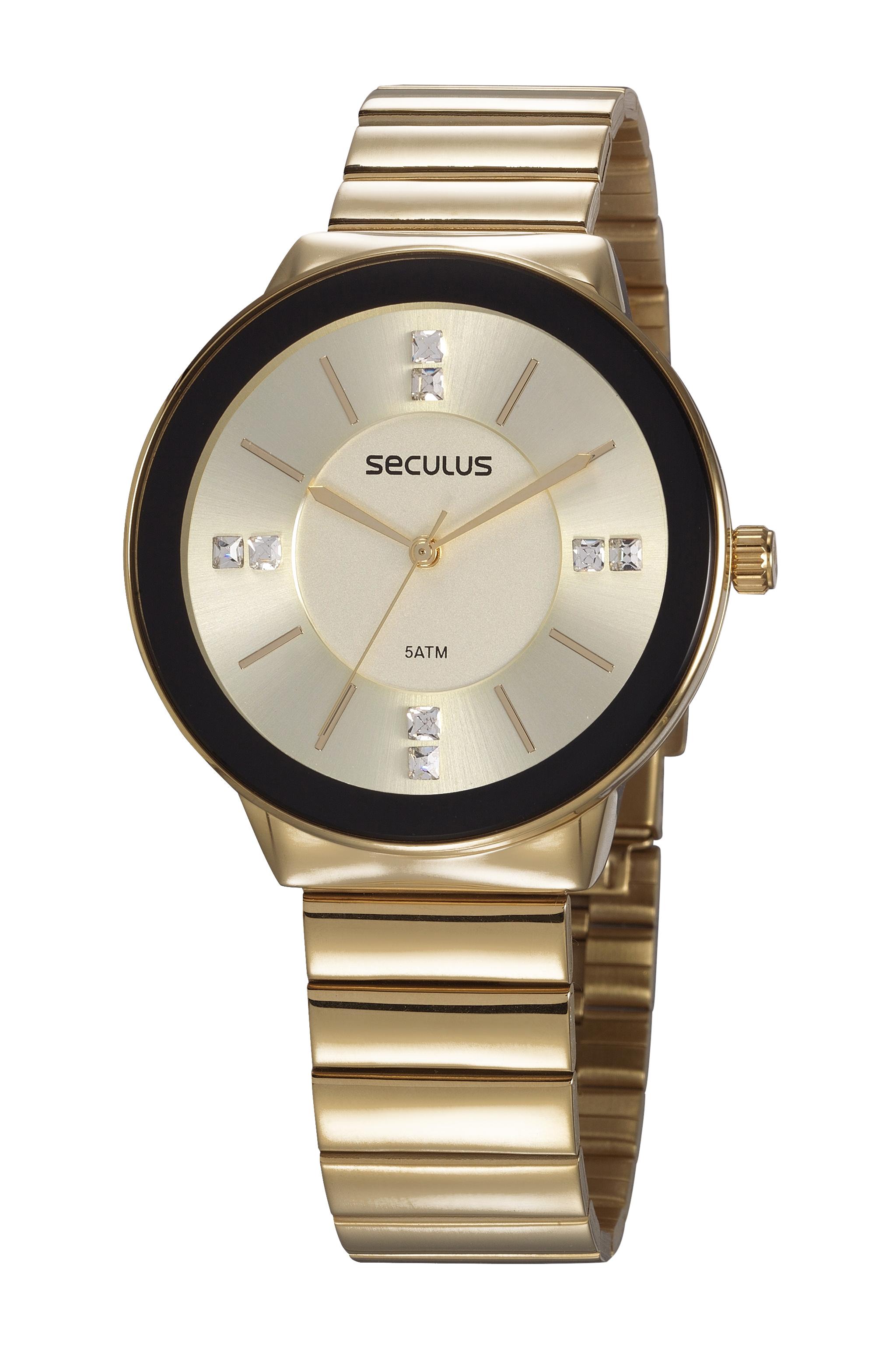 Relógio Feminino Dourado Seculus 77045LPSVDS1