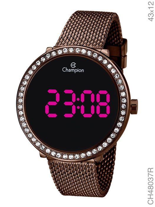Relógio Champion Digital com Strass Chocolate CH48037R