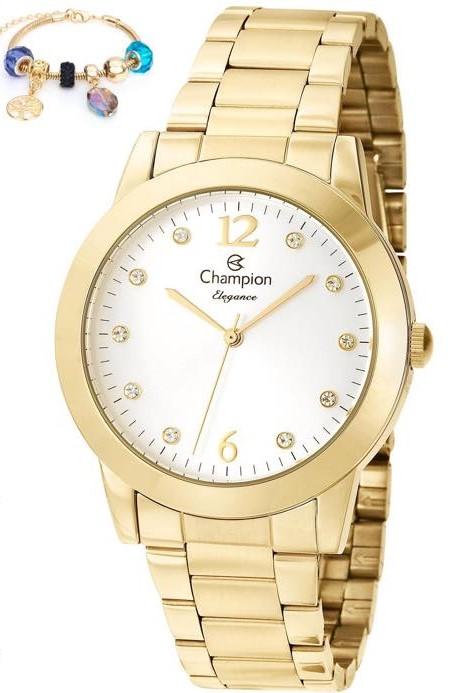 Relógio Champion Dourado Feminino + Pulseira CN26788S