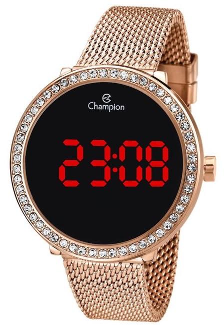 Relógio Champion Digital Redondo com Strass Rosê CH48037P