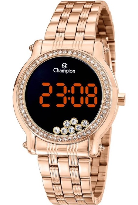 Relógio Champion Digital Rosê com Pedraria CH48055Z
