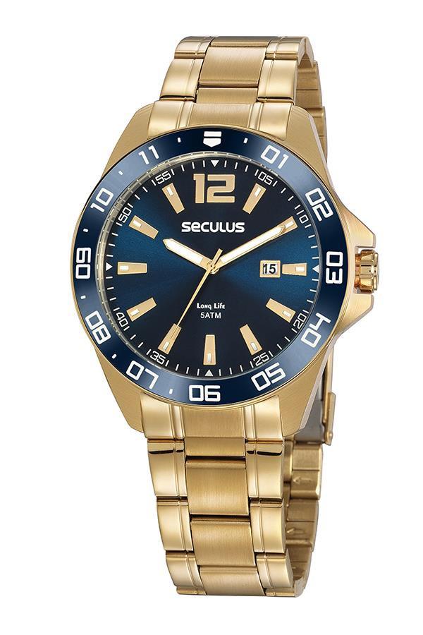 Relógio Banhado a ouro 2 anos de garantia Seculus 20809GPSVDA2