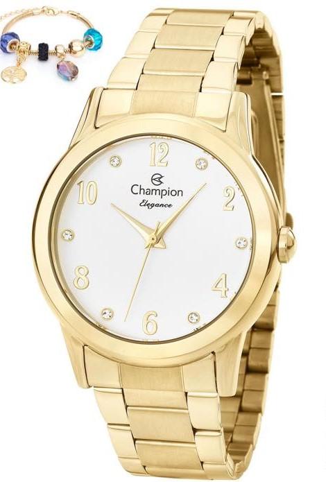Relógio Champion Dourado Feminino + Pulseira CN26751S