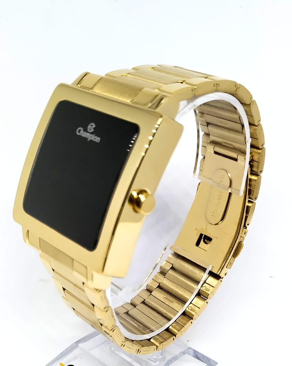Relógio Champion Quadrado Dourado CH40197H