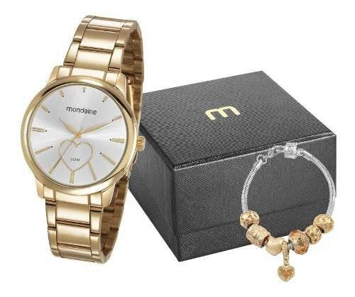 Relógio Mondaine Feminino Dourado + Pulseira 53806LPMGDE2K1