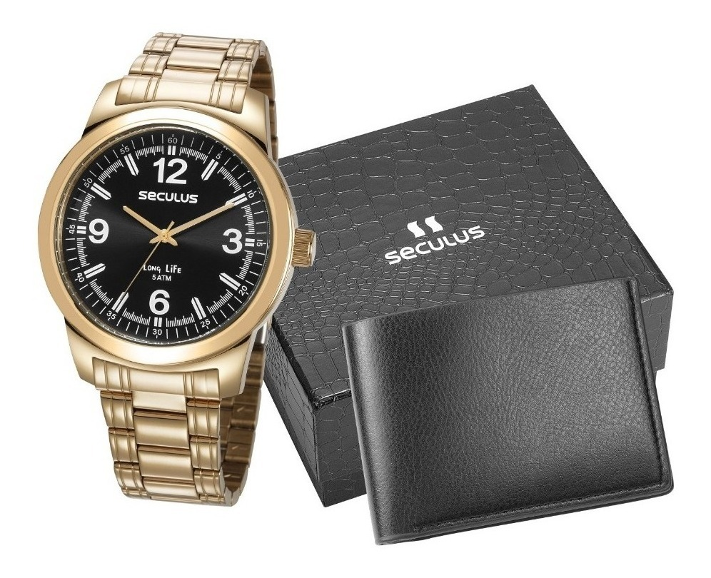 Relógio Seculus Dourado Masculino + Carteira 23639GPSVDA3K