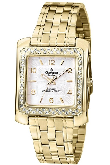 Relógio Champion Feminino Quadrado Dourado CN28606H