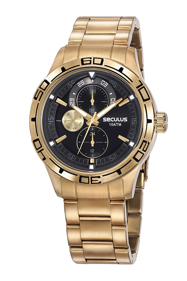 Relógio Masculino Dourado Seculus 13041GPSVDA1