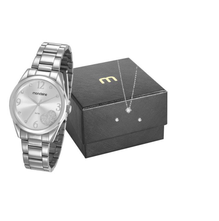 Relógio Mondaine Feminino Prata + Colar e Brinco 83433L0MVNE2K1