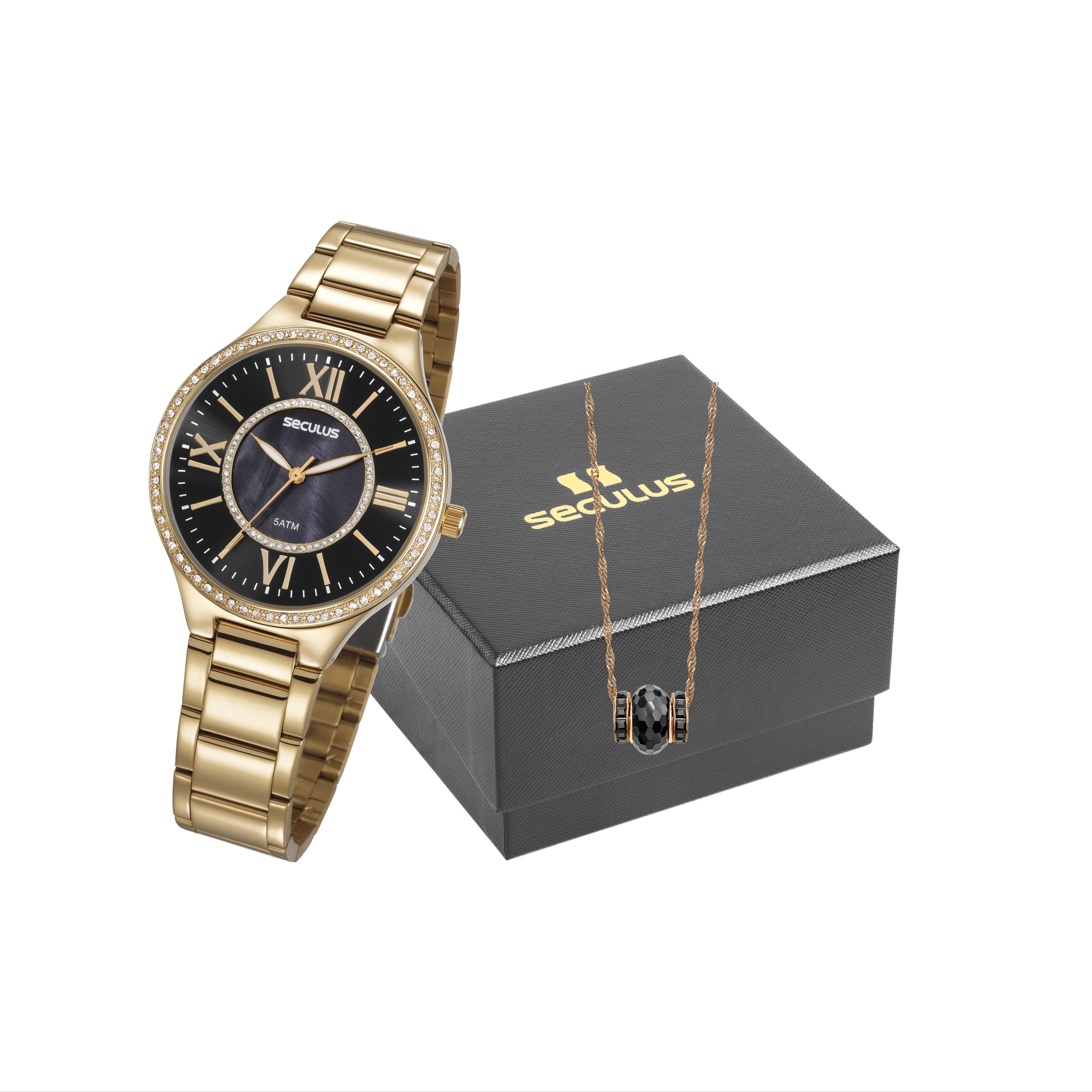 Relógio Seculus Feminino Dourado com Colar