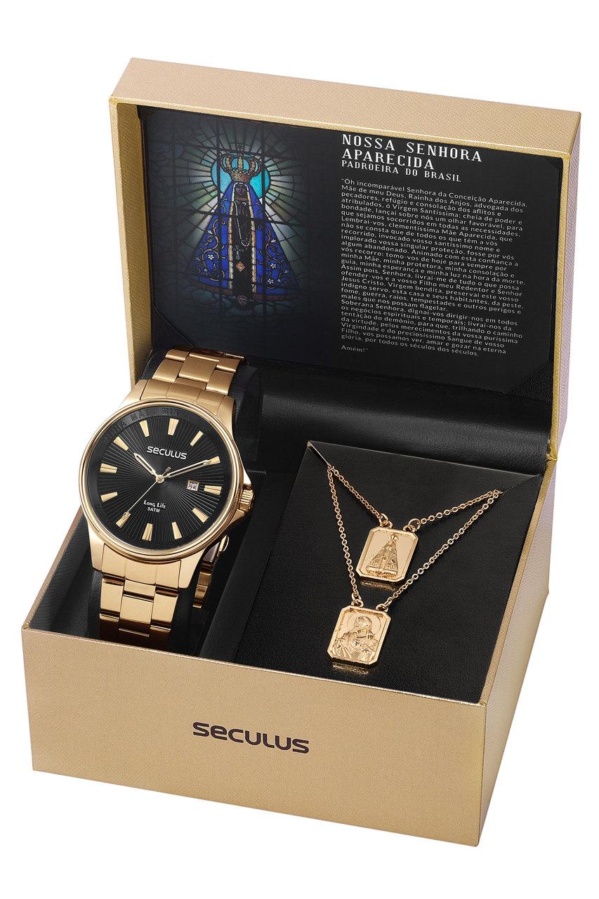 Relógio Seculus com Escapulário Jesus e Maria