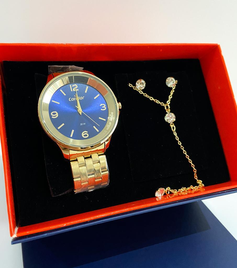 Relógio Condor Feminino Dourado Fundo Azul CO2035MSP/K4A
