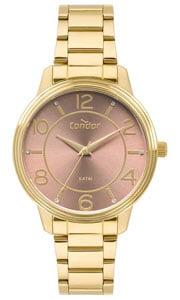 Relógio Condor Feminino Dourado Fundo Lilás