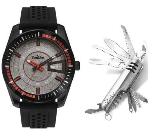 Relógio Condor Masculino Silicone + Canivete CO2115KWT/K2C