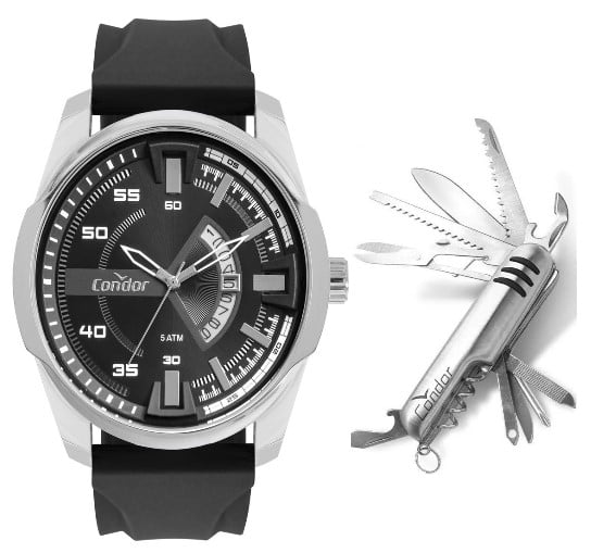 Relógio Condor Masculino Silicone + Canivete CO2115KWX/K2P