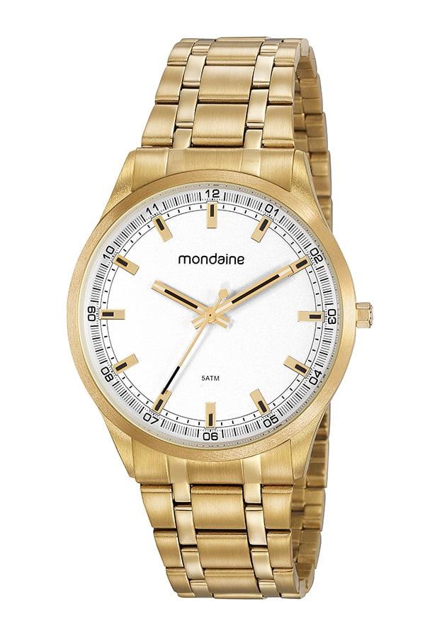 Relógio Masculino Mondaine Dourado Fundo Branco