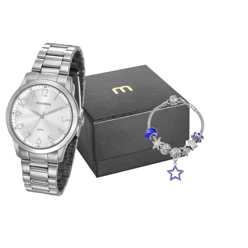 Relógio Mondaine Feminino Prata + Pulseira 99240L0MVNE2K1