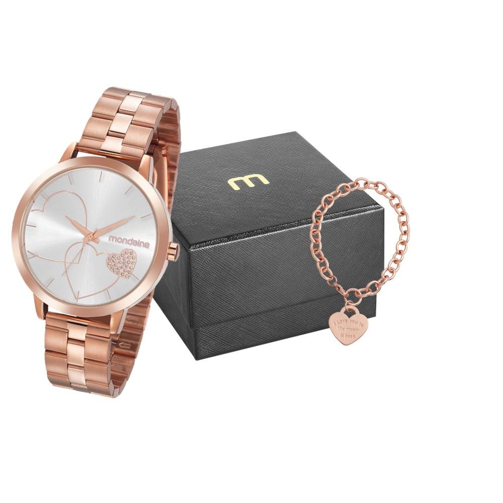 Relógio Mondaine Feminino Rosê + Pulseira 32102LPMKRE2K1