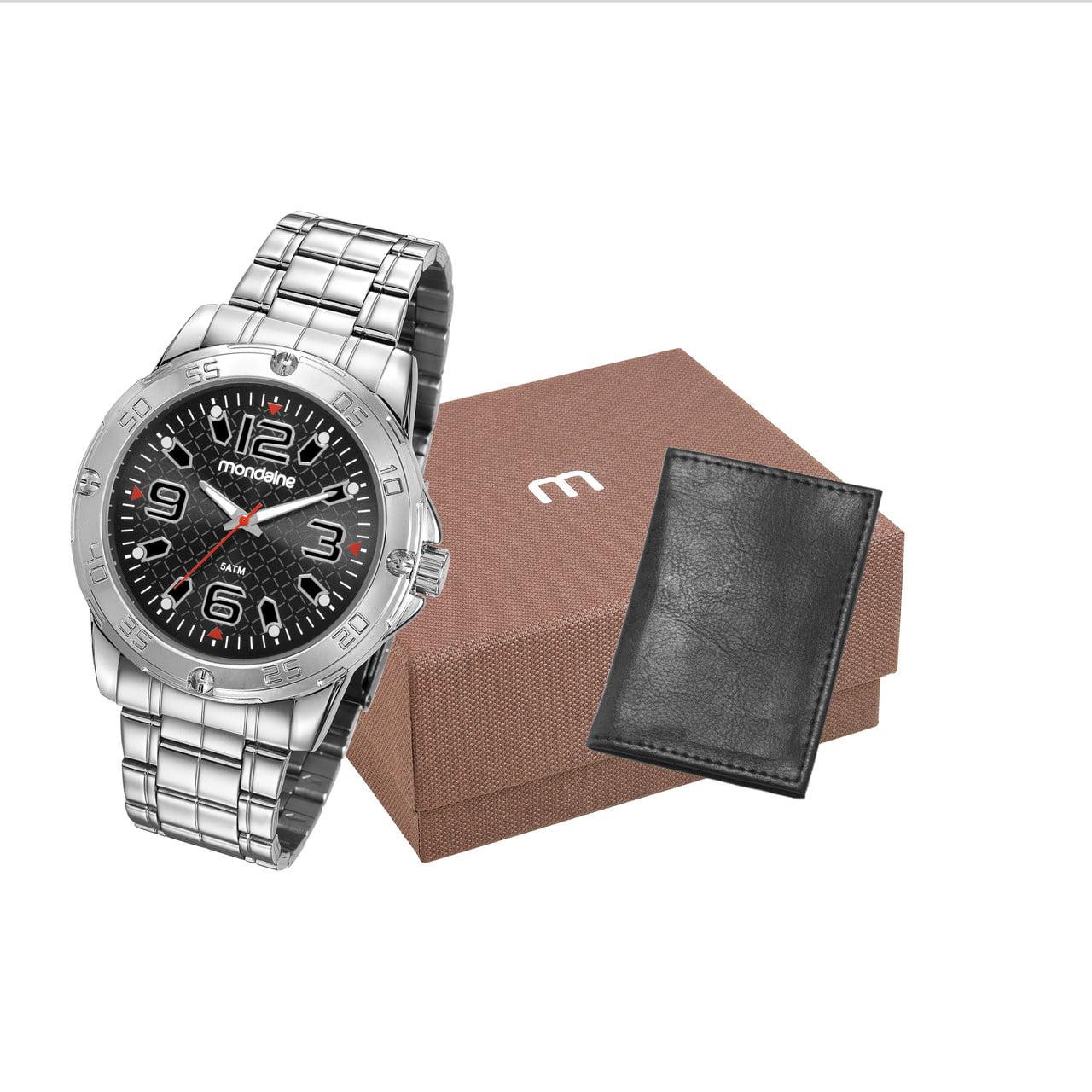 Relógio Mondaine Masculino Prata + Carteira 83460G0MVNE2K1