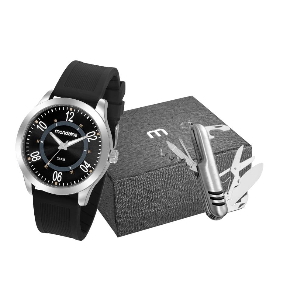 Relógio Mondaine Masculino Silicone + Canivete 83480G0MVNI1K1