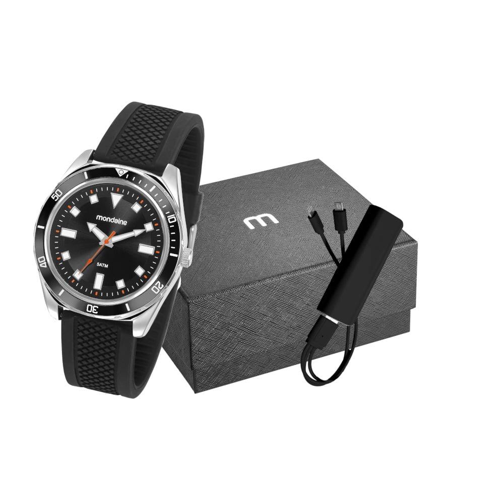 Relógio Mondaine Masculino Silicone + Carregador Portátil