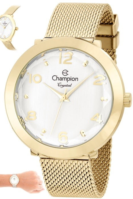 Kit Relógio Champion Feminino + Colar e Brinco CN25207H