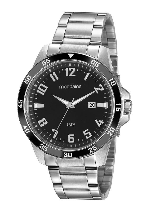 Relógio Masculino Mondaine Prata Dial Preto