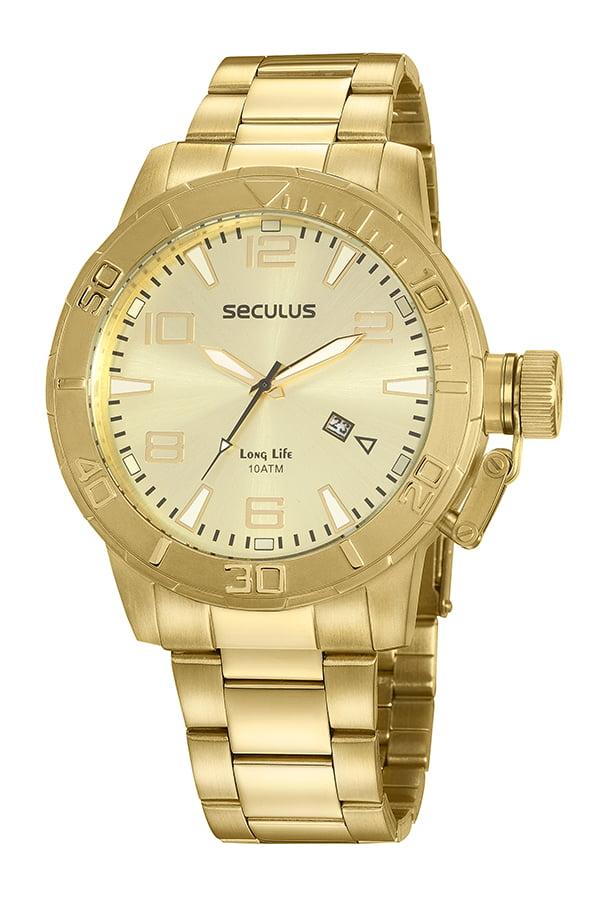 Relógio Seculus Todo em Aço Dourado