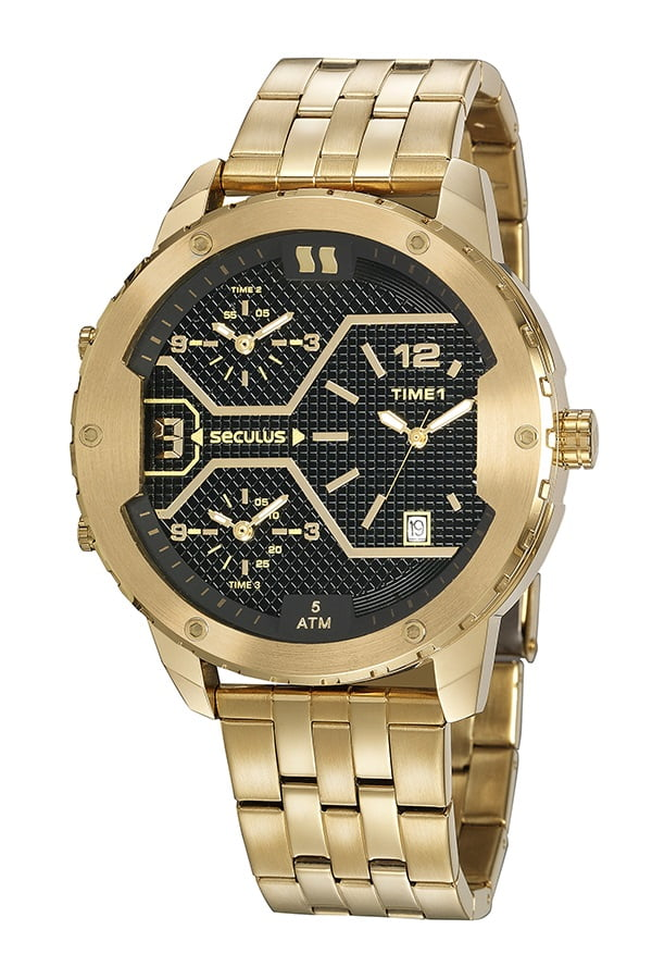 Relógio Dourado Masculino Seculus 20886GPSVDA1