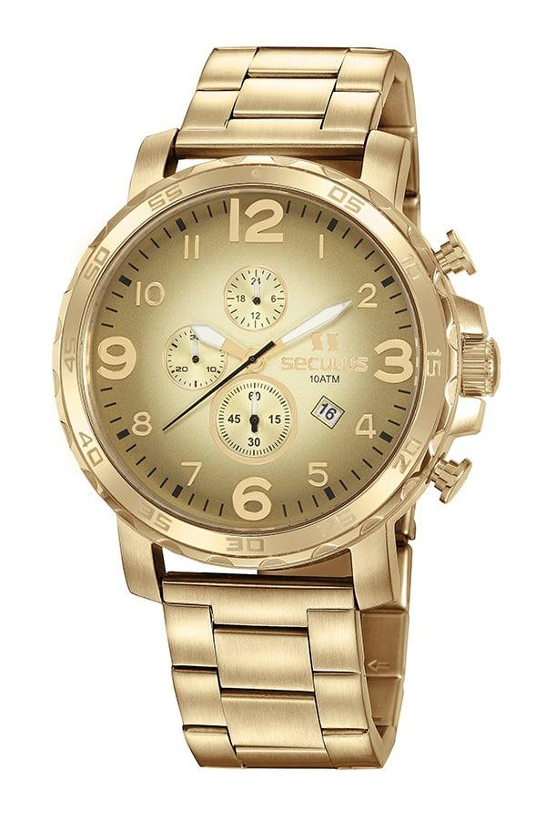 Relógio Masculino Seculus Cronógrafo Dourado