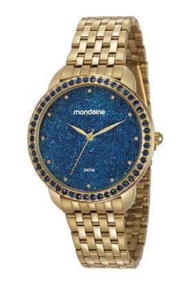 Relógio Mondaine Feminino Dourado + Colar e Brinco 53918LPMGDE2K1