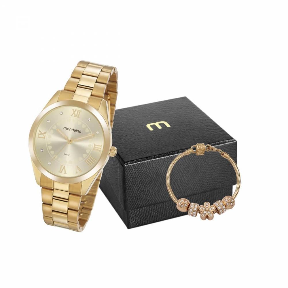 Relógio Mondaine Feminino Dourado + Pulseira 53918LPMGDE1K1