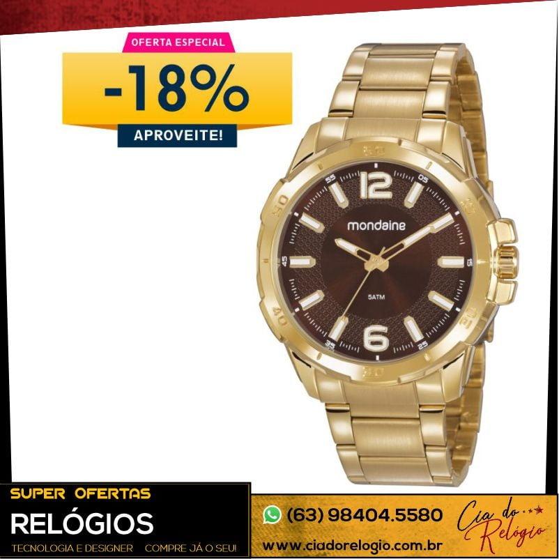 Relógio Mondaine Masculino Dourado 53791GPMVDE1