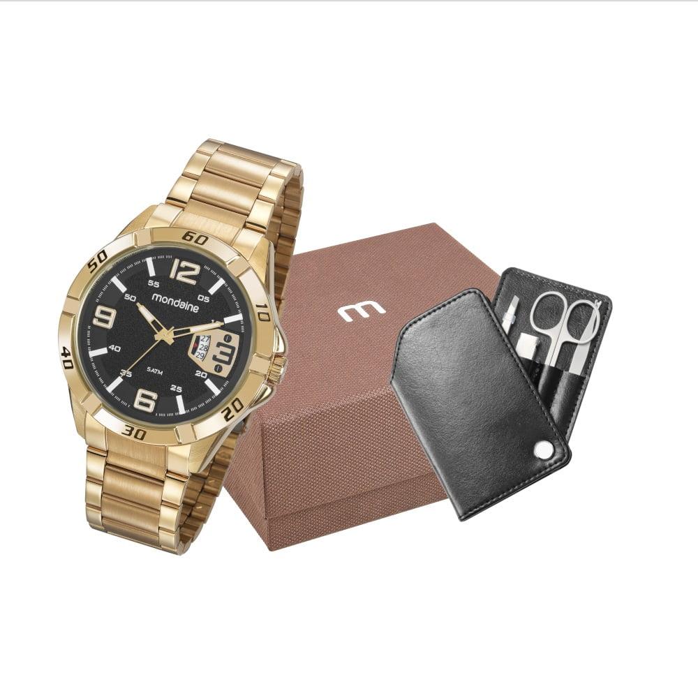 Relógio Mondaine Masculino Dourado + Carteira 53834GPMVDE2K1