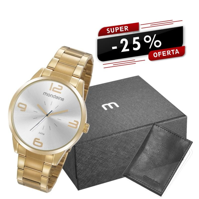 Relógio Mondaine Masculino Dourado + Carteira 53924GPMGDE2K1