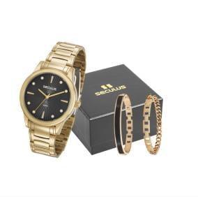 Relógio Seculus Feminino Dourado + 2 Pulseiras 23606LPSVDS1K1