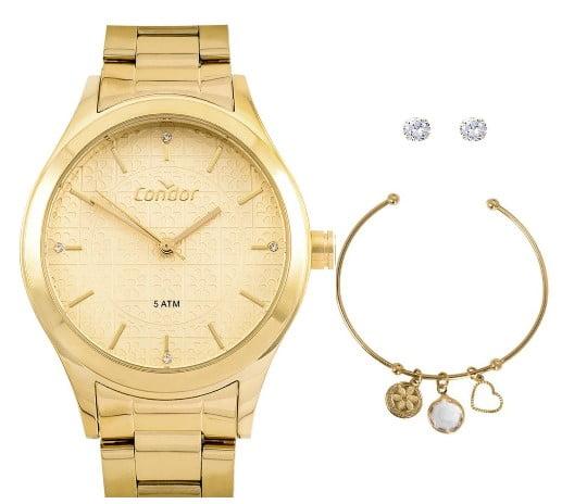 Kit Relógio Condor Feminino Dourado + Pulseira e Brinco COAL2035FDW/K4X
