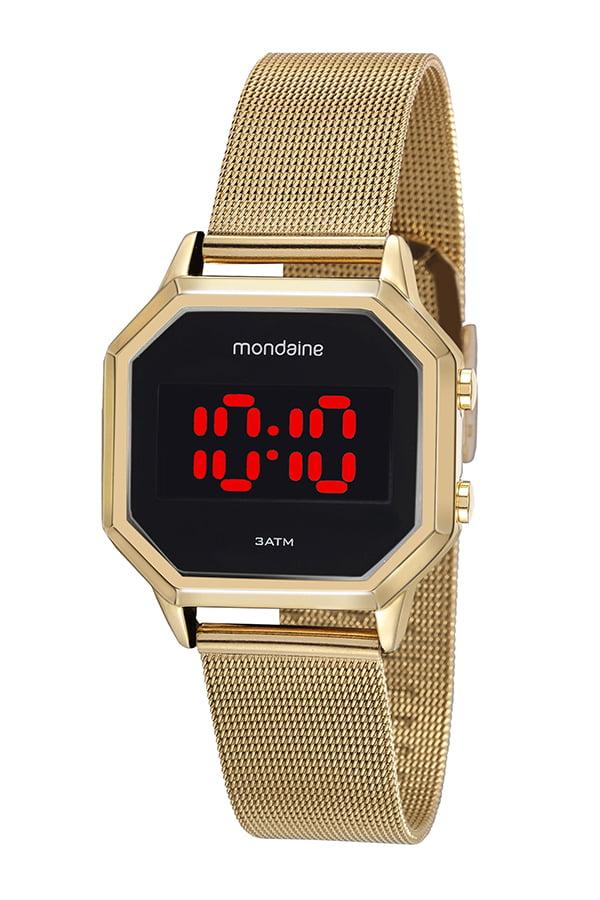 Relógio Mondaine Digital Quadrado Dourado 32094MPMVDE1
