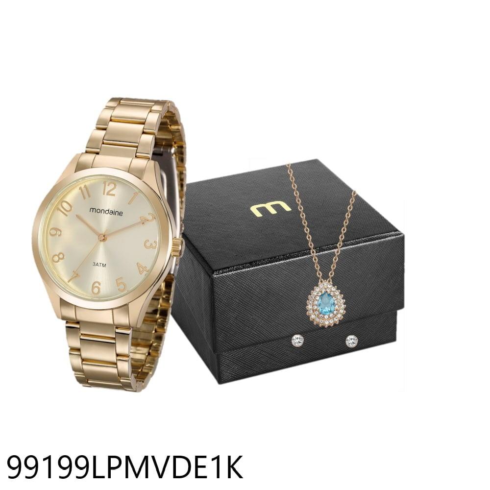 Relógio Mondaine Feminino Dourado  + Brinco e Colar