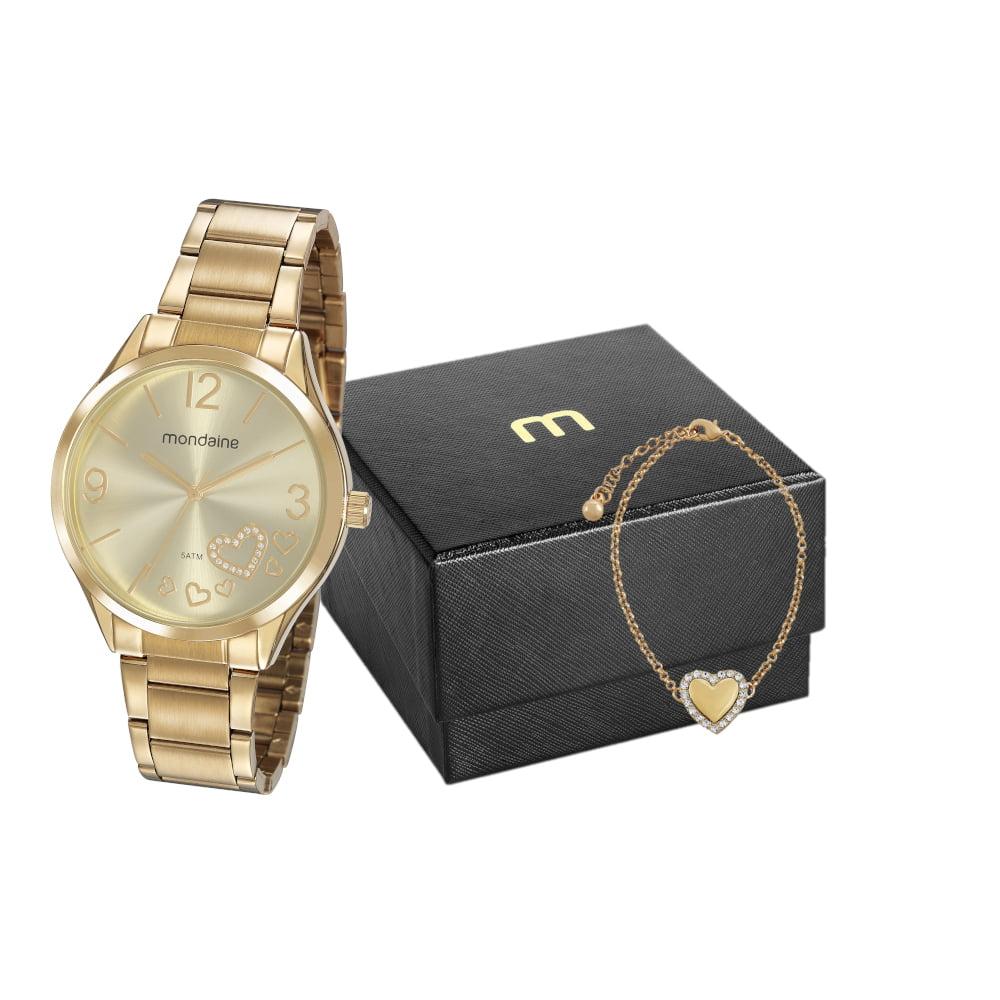 Relógio Mondaine Feminino Dourado + Pulseira