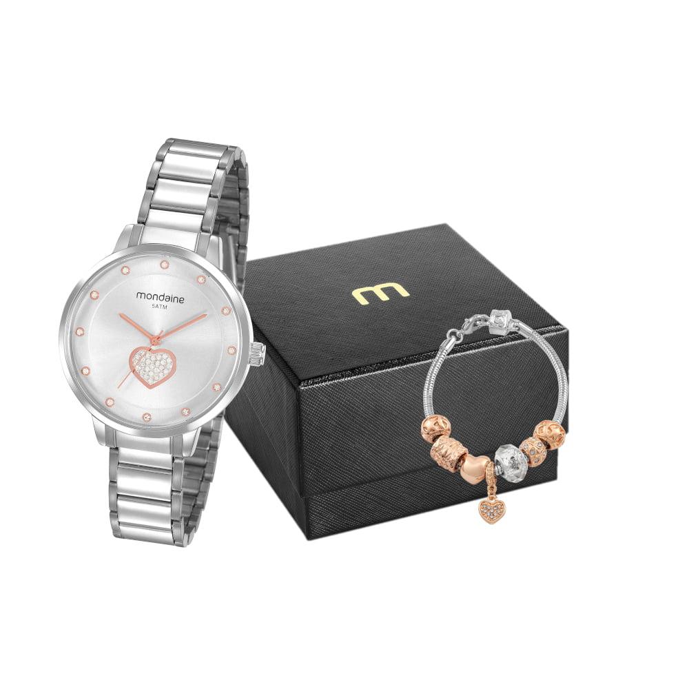 Relógio Mondaine Feminino Prata + Pulseira