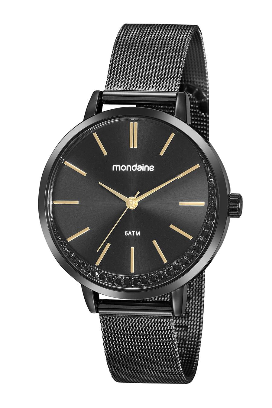 Relógio Mondaine Feminino Preto com Cristais