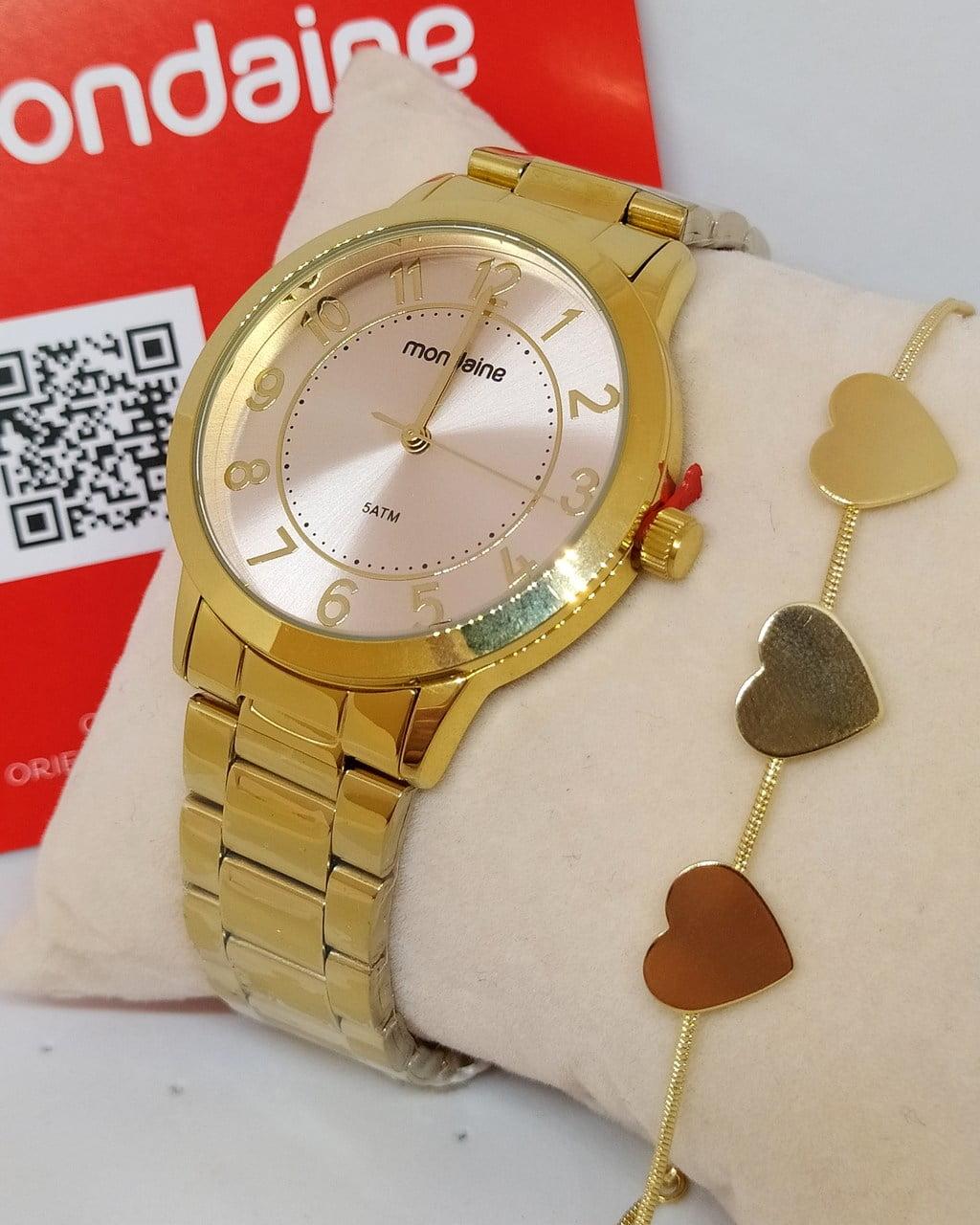 Kit Relógio Feminino Dourado Mondaine + Pulseira Rafalu