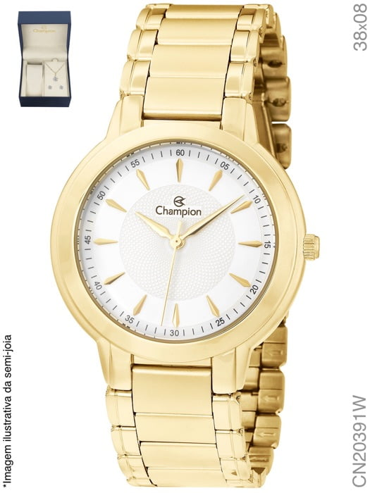 Relógio Champion Dourado + Colar e Brinco CN20391w