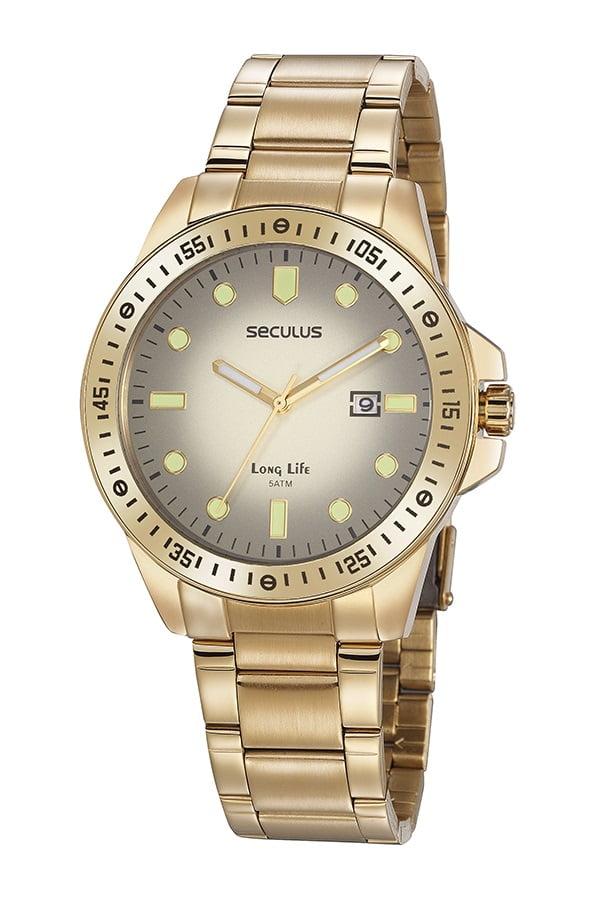 Relógio Dourado Seculus Todo em Aço