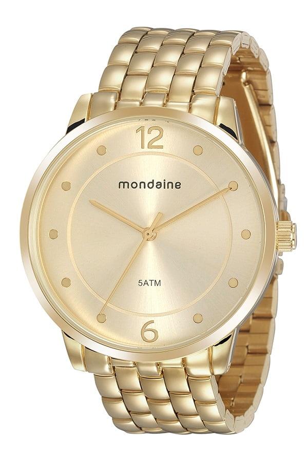 Relógio Mondaine Feminino Dourado cx Grande
