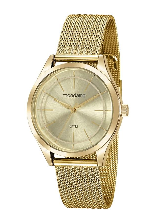 Relógio Mondaine Feminino Dourado Pulseira Esteira