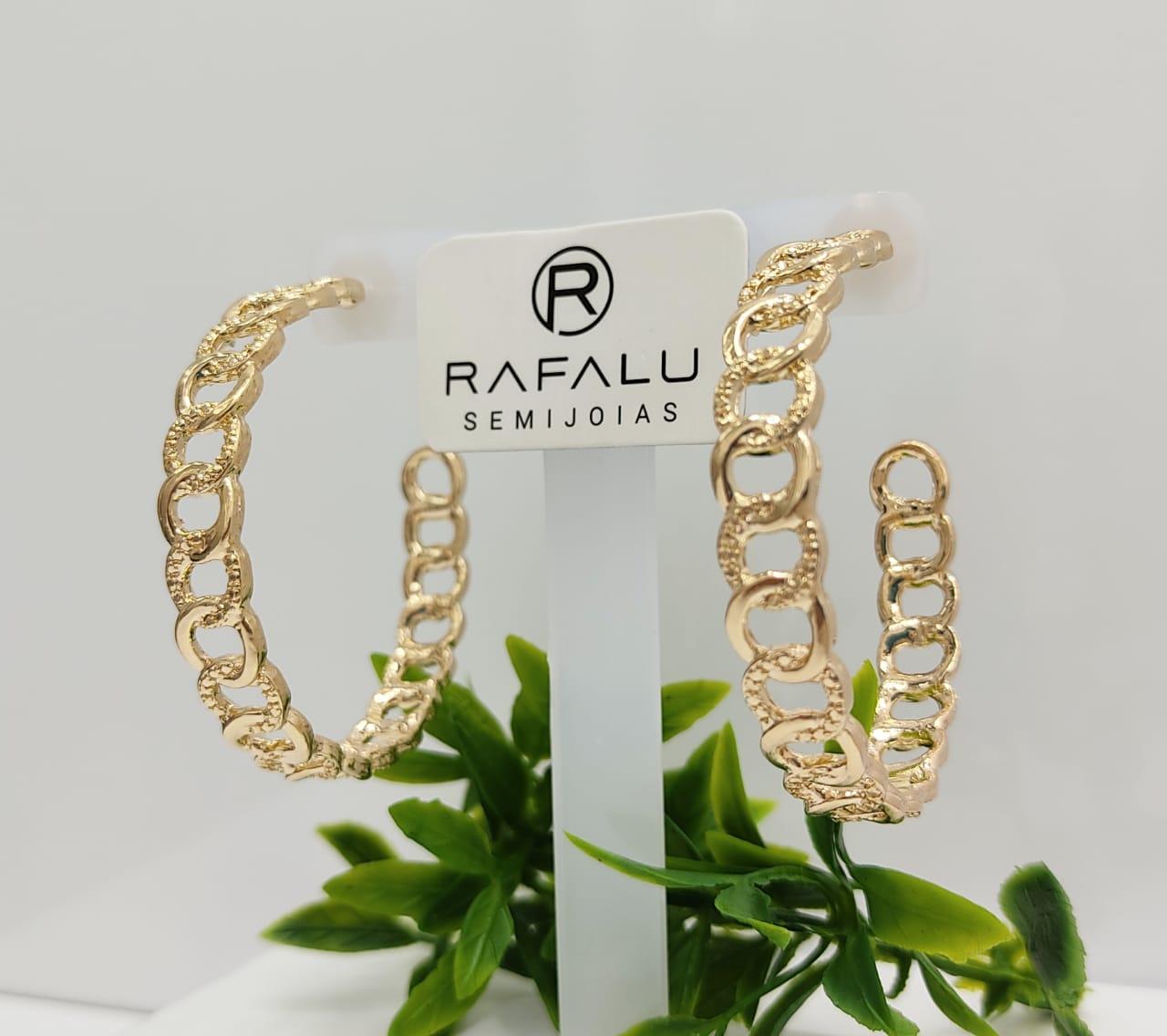 Argola Banhada a Ouro Rafalu - BR0006U1 - 05 ANOS DE GARANTIA